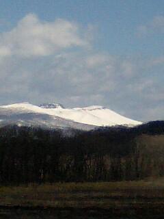 northland朝日に輝く樽前山